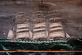 Painting of sailing ship Ella on display in museum, Stanley, Falkland Islands, British Overseas Territory