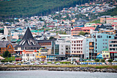City view from the Ushuaia pier, Ushuaia, Tierra del Fuego, Patagonia, Argentina