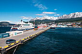 The Ushuaia pier where freighters, expedition cruise ships, large cruise ships, scientific-study ships and excursion vessels tie up. Most of the expedition cruises into the Antarctic start from here, Ushuaia, Tierra del Fuego, Patagonia, Argentina