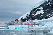 Ice floes and expedition cruise ship MS Hanseatic (Hapag-Lloyd Cruises), Neko Harbour, Graham Land, Antarctica