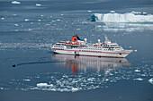Zodiac dinghy transfer from expedition cruise ship MS Hanseatic (Hapag-Lloyd Cruises), Neko Harbour, Graham Land, Antarctica