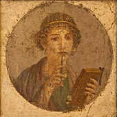 Portrait of young girl, Sappho, from Pompeii, National Archaeological Museum, Naples, Campania, Italy, Europe