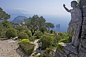 Statue and gardens in early morning summer sunshine, Monte Solaro, Isle of Capri, Neapolitan Riviera, Campania, Italy, Europe