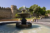 Fountain at the gated city wall, UNESCO World Heritage site, Baku, Azerbaijan, Central Asia, Asia