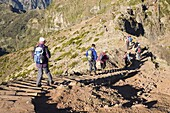 Hikers walk on on a footpath on the Pico do Ariero on the island of Madeira, Portugal, Europe