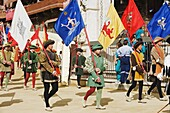 Regional flags being paraded at El Palio horse race festival, Piazza del Campo, Siena, Tuscany, Italy, Europe