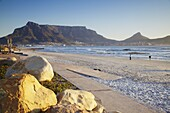 View of Table Mountain from Milnerton beach, Cape Town, Western Cape, South Africa, Africa