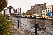 New and old waterside buildings, Leith, Edinburgh, Scotland, United Kingdom, Europe