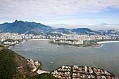 View from Sugar Loaf Mountain of Botafogo Bay and Chirst The Redeemer Statue atop Cocovado, with Flamenco and the City to the right, Urca, Rio de Janeiro, Brazil, South America