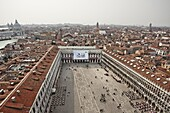 Looking west from Campanile over St. Marks Square and city, Venice, UNESCO World Heritage Site, Veneto, Italy, Europe