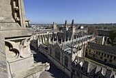 Aerial view over All Souls College, Oxford, Oxfordshire, England, United Kingdom, Europe
