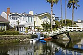 Houses on the canals in Venice Beach, Los Angeles, California, United States of America, North America