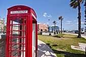 Old British telephone call box at the cruise terminal in the Royal Naval Dockyard, Bermuda, Central America