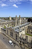 View of All Souls College, from tower of University Church of St. Mary The Virgin, University of Oxford, Oxfordshire,  England, United Kingdom, Europe