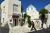 Blue domed church, Parikia (Hora), Paros, Cyclades, Greek Islands, Greece, Europe