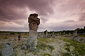 Sightseers at the rock formations known as the Stone Forest, 50 million year old tree-like stone columns, Varna, Bulgaria, Europe