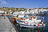 Fishing boats in Mykonos Town, Island of Mykonos, Cyclades, Greek Islands, Greece, Europe