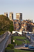 York Minster from the City Walls, York, North Yorkshire, Yorkshire, England, United Kingdom, Europe