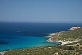 An aerial view of the Corsican coast near L'Ile Rousse in the Haute-Balagne region, Corsica, France, Mediterranean, Europe