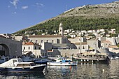 The old harbour of the Old City, Dubrovnik, UNESCO World Heritage Site, Croatia, Europe