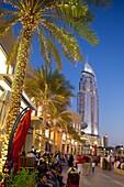 The Address Hotel and Dubai Mall at dusk, Dubai, United Arab Emirates, Middle East