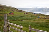 View over Erik the Red's first settlement Brattahlid, known today as Qassiarsuk, South Greenland, Polar Regions