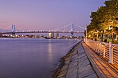 Camden Waterfront and Ben Franklin Bridge, City of Camden, New Jersey, United States of America, North America