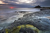 The first glow of sunrise over the sea beside Bamburgh Castle, Bamburgh, Northumberland, England, United Kingdom, Europe