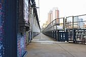 Manhattan Bridge walkway, New York City, New York, United States of America, North America