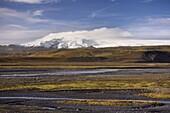 Glacial river valley, Myrdalsjokull glacier in the distance, near Vik, South Iceland, Iceland, Polar Regions