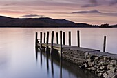 View along wooden jetty at Barrow Bay landing,  Derwent Water,  Lake District National Park,  Cumbria,  England,  United Kingdom,  Europe