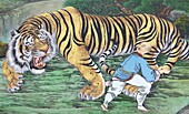 Zen koan painting depicting monk and tiger,  Seoul,  South Korea,  Asia