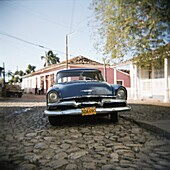 Old blue American car, Trinidad, Cuba, West Indies, Central America
