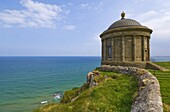 The Mussenden temple perched on a cliff edge, part of the Downhill Estate, County Londonderry, Ulster, Northern Ireland, United Kingdom, Europe