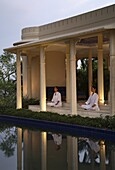 Meditation at the pavilion at Ananda in the Himalayas, India, Asia