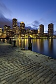 Skyline and inner harbour including Rowes Wharf at dawn, Boston, Massachusetts, New England, United States of America, North America