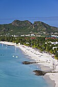 Elevated view over Jolly Harbour and Jolly Beach, Antigua, Leeward Islands, West Indies, Caribbean, Central America