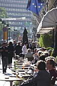 Pavement cafe, Pohjoisesplanadi Street, Esplanade, Helsinki, Finland, Scandinavia, Europe