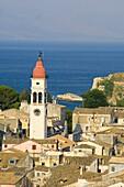 An aerial view of Corfu Old Town and St. Spyridonas belltower from the New Fort, Corfu, Ionian Islands, Greek Islands, Greece, Europe