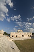 Cuadrangulo de las Monjas (Nuns' Quadrangle) with the northern building on the left and eastern building behind, Uxmal, UNESCO World Heritage Site, Yucatan, Mexico, North America