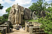 Statue of Buddha, 12 metres tall, carved in granite, Aukana, north of Dambulla, Sri Lanka, Asia
