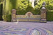 Ornamental gardens and pavings of Grotesque gallery in Reales Alcazares Gardens (Alcazar Palace Gardens), Seville, Andalusia, Spain, Europe