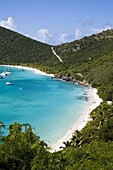 Yachts anchored in White bay, island of Jost Van Dyck, British Virgin Islands, West Indies, Caribbean, Central America