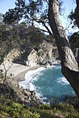 Waterfall and beach at Julia Pfeiffer Burns State Park, near Big Sur, California, United States of America, North America