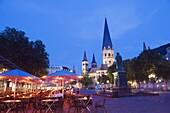 Bonn Cathedral at night, Bonn, North Rhineland Westphalia, Germany, Europe