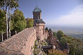 Haut-Koenigsbourg Castle, view of the exterior wall and keep overlooking the Alsace plain, from the grand bastion, Haut Rhin, Alsace, France, Europe