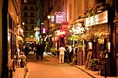 Street scene at night, Left Bank, Paris, France, Europe