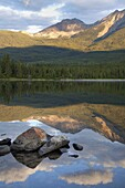 Perfect reflection, early morning light at Pyramid Lake, Jasper National Park, UNESCO World Heritage Site, British Columbia, Rocky Mountains, Canada, North America