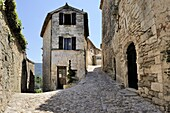 Cobbled alley in the picturesque medieval village of Lacoste, Provence, France, Europe