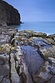 An overcast morning at Dancing Ledge on the Dorset coast, Jurassic Coast, UNESCO World Heritage Site, Dorset, England, United Kingdom, Europe